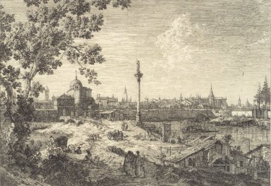 Giovanni Antonio Canal, called Canaletto (Italian, Venetian, 1697-1768). Panorma d'une Ville Baignee par une Riviere, or Murano. Etching on laid paper, 11 13/16 x 17 in. (30 x 43.2 cm). Brooklyn Museum, Frank L. Babbott Fund, 37.23