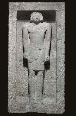 Statue in a Niche, ca. 2600-2345 B.C.E. Limestone, 45 1/4 x 22 1/8 x 8 in. (114.9 x 56.2 x 20.3 cm). Brooklyn Museum, Charles Edwin Wilbour Fund, 37.24E. Creative Commons-BY