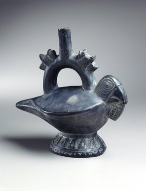 Lambayeque. Stirrup Spout Vessel in Form of Bird. Ceramic, black slip, 7 1/2 x 8 x 4 1/2 in. (19.1 x 20.3 x 11.4 cm). Brooklyn Museum, Frank Sherman Benson Fund and the Henry L. Batterman Fund, 37.2562PA. Creative Commons-BY