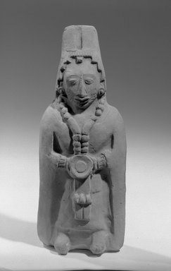 Maya. Hollow Figurine. Ceramic, 8 1/4 x 3 3/16 x 2 1/8 in. (21 x 8.1 x 5.4 cm). Brooklyn Museum, Frank Sherman Benson Fund and the Henry L. Batterman Fund, 37.2784PA. Creative Commons-BY