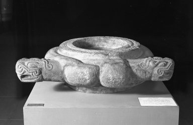Huastec. Bowl or Alter. Grayish stone, 8 1/4 x 30 11/16 x 25 in.  (21 x 78 x 63.5 cm). Brooklyn Museum, Frank Sherman Benson Fund and the Henry L. Batterman Fund, 37.2896PA. Creative Commons-BY