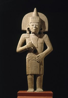 Huastec. Life-Death Figure, 900-1250. Sandstone, traces of pigment, 62 3/8 x 26 x 11 1/2 in. (158.4 x 66 x 29.2 cm). Brooklyn Museum, Frank Sherman Benson Fund and the Henry L. Batterman Fund, 37.2897PA. Creative Commons-BY