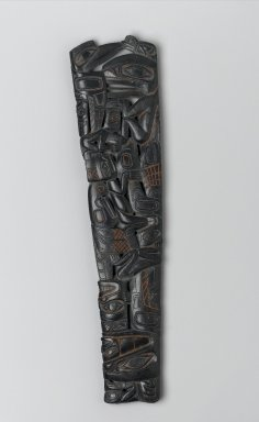 Haida (Native American). Carved Pipe, early 19th century. Argillite, pigment traces, 11 7/16 x 4 1/8 x 3/4 in. (29.1 x 10.5 x 1.9 cm). Brooklyn Museum, Frank Sherman Benson Fund and the Henry L. Batterman Fund, 37.2982PA. Creative Commons-BY