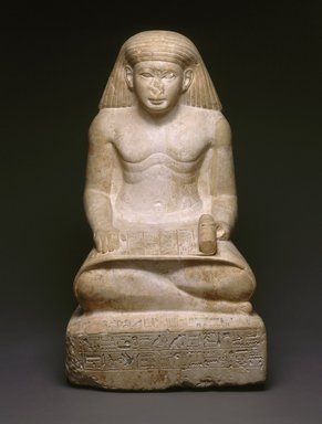 Scribe Statue of Amunhotep, Son of Nebiry, ca. 1426-1400 B.C.E. Limestone, 26 x 13 3/16 x 14 13/16 in. (66 x 33.5 x 37.6 cm). Brooklyn Museum, Charles Edwin Wilbour Fund, 37.29E. Creative Commons-BY