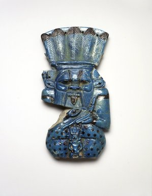 Figure of the God Bes, ca. 945-712 B.C.E. Faience, 6 7/8 x 3 5/8 x 7/8 in. (17.5 x 9.2 x 2.3 cm). Brooklyn Museum, Charles Edwin Wilbour Fund, 37.309E. Creative Commons-BY