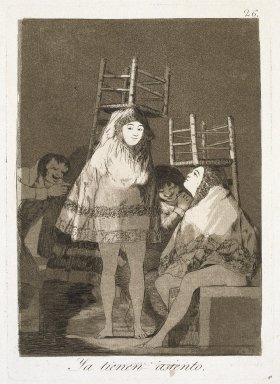 Francisco de Goya y Lucientes (Spanish, 1746-1828). They've Already Got a Seat (Ya tienen asiento), 1797-1798. Etching and aquatint on laid paper, Sheet: 11 7/8 x 7 7/8 in. (30.2 x 20 cm). Brooklyn Museum, A. Augustus Healy Fund, Frank L. Babbott Fund, and Carll H. de Silver Fund, 37.33.26