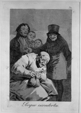 Francisco de Goya y Lucientes (Spanish, 1746-1828). Why Hide Them? (Porque esconderlos?), 1797-1798. Etching, aquatint and drypoint on laid paper, Sheet: 11 7/8 x 8 in. (30.2 x 20.3 cm). Brooklyn Museum, A. Augustus Healy Fund, Frank L. Babbott Fund, and Carll H. de Silver Fund, 37.33.30
