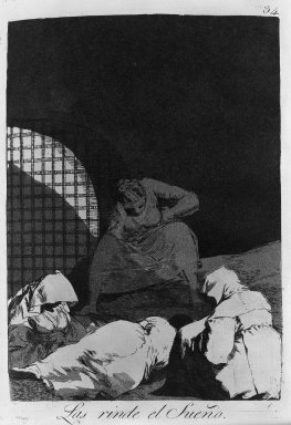 Francisco de Goya y Lucientes (Spanish, 1746-1828). Sleep Overcomes Them (Las rinde el sueño), 1797-1798. Etching and aquatint on laid paper, Sheet: 11 7/8 x 7 15/16 in. (30.2 x 20.2 cm). Brooklyn Museum, A. Augustus Healy Fund, Frank L. Babbott Fund, and Carll H. de Silver Fund, 37.33.34