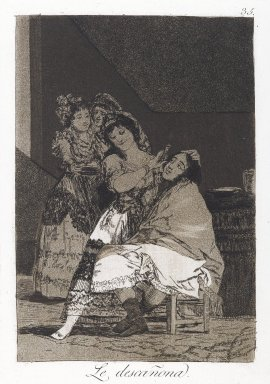 Francisco de Goya y Lucientes (Spanish, 1746-1828). She Fleeces Him (Le descañona), 1797-1798. Etching and aquatint on laid paper, Sheet: 11 7/8 x 7 15/16 in. (30.2 x 20.2 cm). Brooklyn Museum, A. Augustus Healy Fund, Frank L. Babbott Fund, and Carll H. de Silver Fund, 37.33.35