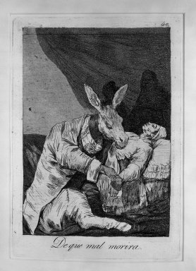 Francisco de Goya y Lucientes (Spanish, 1746-1828). Of What Will He Die? (De que mal morira?), 1797-1798. Etching and aquatint on laid paper, Sheet: 11 7/8 x 8 in. (30.2 x 20.3 cm). Brooklyn Museum, A. Augustus Healy Fund, Frank L. Babbott Fund, and Carll H. de Silver Fund, 37.33.40