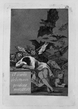 Francisco de Goya y Lucientes (Spanish, 1746-1828). The Sleep of Reason Produces Monsters (El sueño de la razon produce monstruos), 1797-1798. Etching and aquatint on laid paper, Sheet: 11 7/8 x 8 in. (30.2 x 20.3 cm). Brooklyn Museum, A. Augustus Healy Fund, Frank L. Babbott Fund, and Carll H. de Silver Fund, 37.33.43