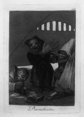 Francisco de Goya y Lucientes (Spanish, 1746-1828). Hobgoblins (Duendecitos), 1797-1798. Etching and aquatint on laid paper, Sheet: 11 7/8 x 7 15/16 in. (30.2 x 20.2 cm). Brooklyn Museum, A. Augustus Healy Fund, Frank L. Babbott Fund, and Carll H. de Silver Fund, 37.33.49