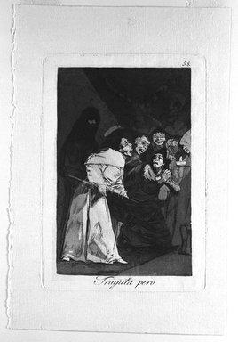 Francisco de Goya y Lucientes (Spanish, 1746-1828). Swallow It, Dog (Tragala perro), 1797-1798. Etching and aquatint on laid paper, Sheet: 11 7/8 x 7 15/16 in. (30.2 x 20.2 cm). Brooklyn Museum, A. Augustus Healy Fund, Frank L. Babbott Fund, and Carll H. de Silver Fund, 37.33.58