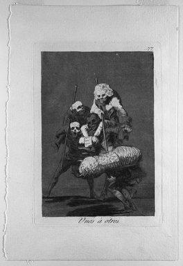 Francisco de Goya y Lucientes (Spanish, 1746-1828). Unos a Otros, 1797-1798. Etching and aquatint on laid paper, Sheet: 11 7/8 x 8 in. (30.2 x 20.3 cm). Brooklyn Museum, A. Augustus Healy Fund, Frank L. Babbott Fund, and Carll H. de Silver Fund, 37.33.77