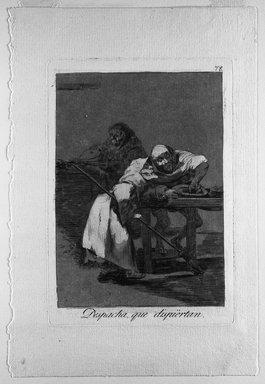 Francisco de Goya y Lucientes (Spanish, 1746-1828). Despacha, Que Dispiertan, 1797-1798. Etching and aquatint on laid paper, Sheet: 11 7/8 x 8 in. (30.2 x 20.3 cm). Brooklyn Museum, A. Augustus Healy Fund, Frank L. Babbott Fund, and Carll H. de Silver Fund, 37.33.78