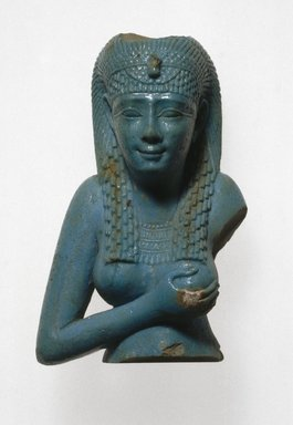 Bust of Isis, 305-30 B.C.E. Egyptian blue frit, 2 3/4 x 1 3/4 x 1 3/8 in. (7 x 4.5 x 3.5 cm). Brooklyn Museum, Charles Edwin Wilbour Fund, 37.332E. Creative Commons-BY