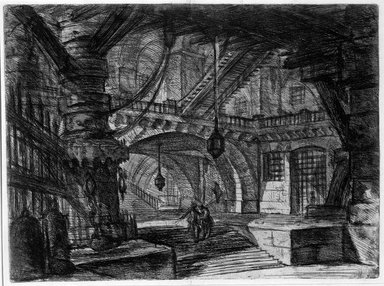 Giovanni Battista Piranesi (Italian, Venetian, 1720-1778). Invenzioni Capric di Carceri; Hind 16, First State of Three, ca. 1749. Etching on laid paper, 15 15/16 x 21 1/2 in. (40.5 x 54.6 cm). Brooklyn Museum, Frank L. Babbott Fund and Carll H. de Silver Fund, 37.356.14