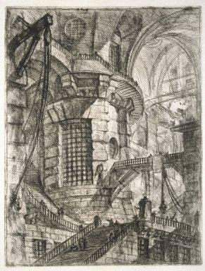 Giovanni Battista Piranesi (Italian, Venetian, 1720-1778). The Round Tower, plate III from Invenzioni Capric di Carceri, ca. 1749. Etching on laid paper, 21 1/2 x 16 1/4 in. (54.61 x 41.27 cm). Brooklyn Museum, Frank L. Babbott Fund and Carll H. de Silver Fund, 37.356.2