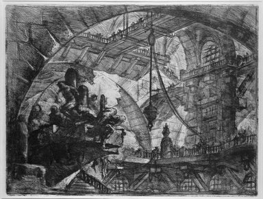 Giovanni Battista Piranesi (Italian, Venetian, 1720-1778). Invenzioni Capric di Carceri; Hind 10, First State of Three, ca. 1749. Etching on laid paper, 16 1/4 x 21 5/16 in. (41.2 x 54.2 cm). Brooklyn Museum, Frank L. Babbott Fund and Carll H. de Silver Fund, 37.356.8