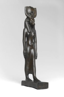 Statuette of Hathor, ca. 664-30 B.C.E. or later. Bronze, solid-cast, with eyes inlaid with gold and electrum, 7 1/2 x 1 7/16 x 2 7/8 in. (19 x 3.7 x 7.3 cm). Brooklyn Museum, Charles Edwin Wilbour Fund, 37.356E. Creative Commons-BY