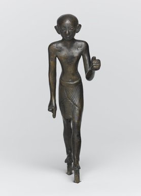 Standing Figure of A Priest, ca. 1070-656 B.C.E. Bronze, 4 13/16 x 1 5/16 x 1 3/4 in. (12.3 x 3.4 x 4.4 cm). Brooklyn Museum, Charles Edwin Wilbour Fund, 37.363E. Creative Commons-BY