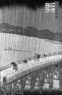 Brooklyn Museum: Sudden Shower over Shin Ohashi Bridge and Atake, (Ohashi Atake no yudachi)from the series, One Hundred Famous Views of Edo