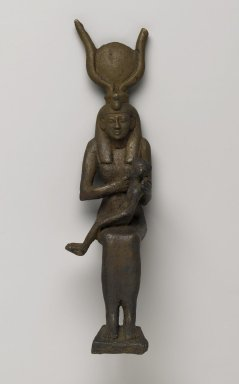 Statue of Isis Nursing the Child Horus, 664-332 B.C.E. Bronze, 10 7/16 x 2 11/16 x 3 7/16 in. (26.5 x 6.9 x 8.8 cm). Brooklyn Museum, Charles Edwin Wilbour Fund, 37.371E. Creative Commons-BY
