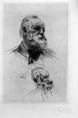 Auguste Rodin (French, 1840-1917). Victor Hugo de Trois-quart, 1884. Dry-point, 4th state of 8 on laid China paper, Image: 8 x 5 1/16 in. (20.3 x 10.3 cm). Brooklyn Museum, Henry L. Batterman Fund, 37.375
