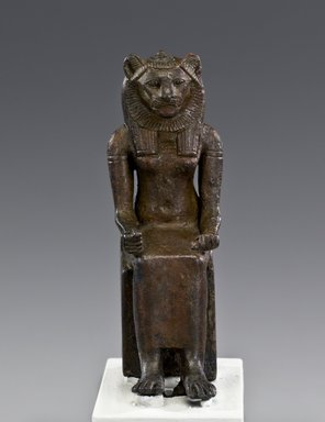 Sakhmet, 664–332 B.C.E. Bronze, 3 7/8 x 1 x 2 1/8 in. (9.8 x 2.5 x 5.4 cm). Brooklyn Museum, Charles Edwin Wilbour Fund, 37.405E. Creative Commons-BY