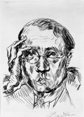 Ludwig Meidner (German, 1884-1966). Portrait of Mr. Bloch (Porträt Herr Bloch), 1919. Drypoint on laid paper, Image (Plate): 7 7/8 x 5 7/8 in. (20 x 14.9 cm). Brooklyn Museum, Gift of J. B. Neumann, 37.425. © Ludwig Meidner-Archive, Jüdisches Museum der Stadt Frankfurt am Main