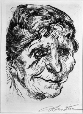 Ludwig Meidner (German, 1884-1966). Portrait of an Old Woman (Porträt einer Greisin), 1920. Drypoint on laid paper, Image (Plate): 9 3/8 x 7 1/4 in. (23.8 x 18.4 cm). Brooklyn Museum, Gift of J. B. Neumann, 37.427. © Ludwig Meidner-Archive, Jüdisches Museum der Stadt Frankfurt am Main