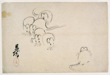 Shibata Zeshin (Japanese, 1807-1891). White Mice, 1893. Woodblock color print, 10 1/8 x 15 1/16 in. (25.7 x 38.3 cm). Brooklyn Museum, By exchange, 37.434