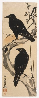 Kawanabe Kyosai (Japanese, 1831-1889). Two Crows, ca. 1870. Woodblock color print, 27 1/2 x 10 in. (69.9 x 25.4 cm). Brooklyn Museum, By exchange, 37.435
