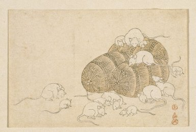 E-Goyomi (Rats and Rice Bales), 1790-1795. Color print, sheet: 3 7/16 x 5 3/16 in. (8.7 x 13.2 cm). Brooklyn Museum, By exchange, 37.438