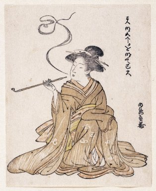 Korinsai? (Japanese). E-Goyomi (Lady Smoking), 1785-1790. Color print, sheet: 5 9/16 x 4 1/2 in. (14.2 x 11.5 cm). Brooklyn Museum, By exchange, 37.440