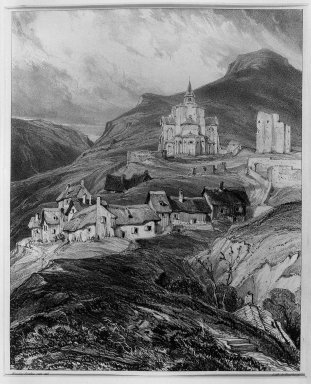 Louis-Gabriel-Eugène Isabey (French, 1803-1886). Exterior of the Church of Saint Nectaire, Auvergne (Abside extérieur de l'église de Saint-Nectaire, Auvergne), 1831. Lithograph on China paper laid down, 8 7/16 x 11 9/16 in. (21.4 x 29.4 cm). Brooklyn Museum, Gift of Knoedler & Company, 37.460