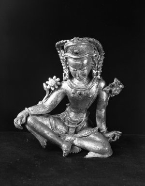 Bodhisattva Figure (Avalokitescara?), 14th century. Gilt copper sculpture, 5 1/8 x 4 1/2 x 3 1/8 in. (13 x 11.5 x 8 cm). Brooklyn Museum, Ella C. Woodward Memorial Fund and Museum Collection Fund, 37.467. Creative Commons-BY