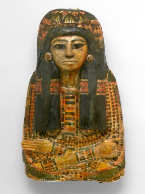 Coffin of the Lady of the House, Weretwahset, Reinscribed for Bensuipet Containing Face Mask and Openwork Body Covering, ca. 1292-1190 B.C.E. Wood, painted (fragments a, b); Cartonnage, wood (fragment c; cartonnage (fragment d) , 37.47Ea-b Box with Lid in place: 25 3/8 x 19 11/16 x 76 3/16 in. (64.5 x 50 x 193.5 cm). Brooklyn Museum, Charles Edwin Wilbour Fund, 37.47Ea-d. Creative Commons-BY