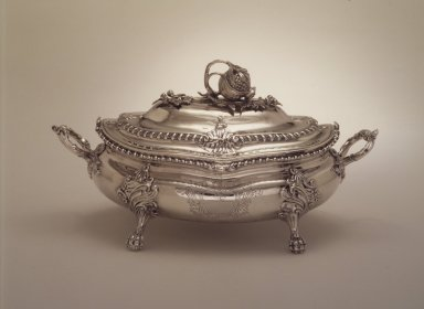 Soup Tureen, 1766. Silver, 8 11/16 x 6 7/8 x 15 3/16 in. (22 x 17.5 x 38.5 cm). Brooklyn Museum, Gift of George Foster Peabody, 37.491. Creative Commons-BY