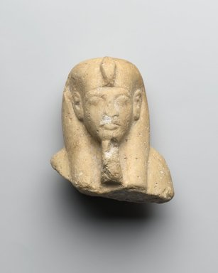 Upper Portion of a Shabti of Akhenaten, ca. 1352-1336 B.C.E. Limestone, painted, 3 3/8 x 2 13/16 x 2 1/16 in. (8.6 x 7.1 x 5.3 cm). Brooklyn Museum, Charles Edwin Wilbour Fund, 37.500. Creative Commons-BY