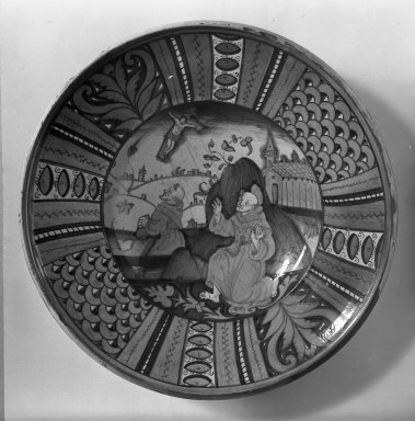 Plate, 16th century. Majolica, 15 1/2 x 2 7/8 in. (39.4 x 7.3 cm). Brooklyn Museum, Gift of Helen Babbott MacDonald, 37.527. Creative Commons-BY