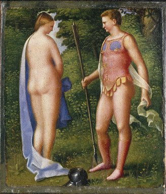 Giulio Campagnola (Italian, Venetian, ca. 1482-ca. 1516). Venus and Mars. Oil on paper mounted on canvas, 7 1/2 x 6 1/2 in. (19.1 x 16.5 cm). Brooklyn Museum, Gift of Helen Babbott MacDonald, 37.529
