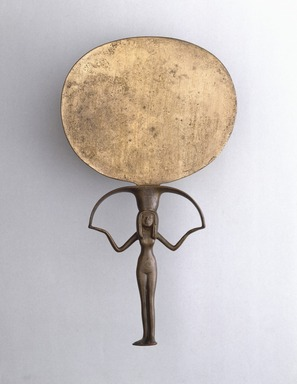Mirror, ca. 1478-1390 B.C.E. Silver and copper alloy, 9 3/4 x diam. 5 1/2 in. (24.7 x 14 cm). Brooklyn Museum, Charles Edwin Wilbour Fund, 37.635E. Creative Commons-BY