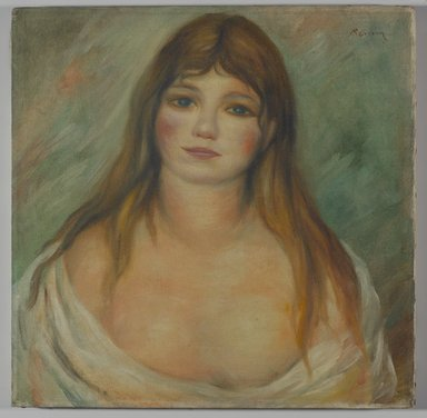 Pierre-Auguste Renoir (French, 1841-1919). Head of a Girl. Oil on canvas, 16 x 16 1/16in. (40.6 x 40.8cm). Brooklyn Museum, Carll H. de Silver Fund, 37.6