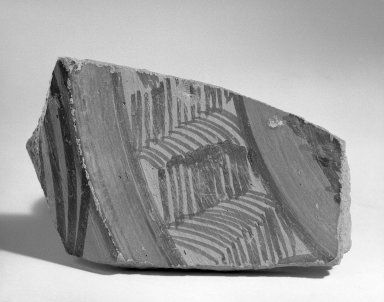 Jhukar. Fragment of Broad Shallow Vessel, ca. 2000 B.C.E. Red pottery with red and black slip-painted decoration, 3 1/4 x 5 1/2 in. (8.3 x 14 cm). Brooklyn Museum, A. Augustus Healy Fund, 37.73. Creative Commons-BY