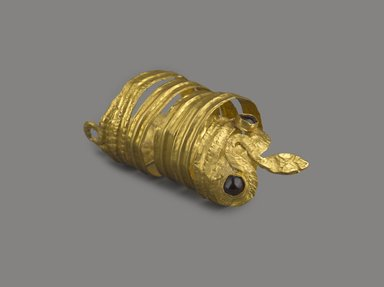 Greek. Large Ring? in the Form of a Coiled Serpent, 3rd century B.C.E. Gold, garnet, Diameter 3/4 x Length 1 3/4 in. (1.9 x 4.4 cm). Brooklyn Museum, Charles Edwin Wilbour Fund, 37.785E. Creative Commons-BY