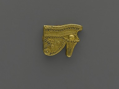 Egyptian. Eye Amulet, 525-343 B.C.E. Gold, 9/16 x 3/16 x 11/16 in. (1.5 x 0.5 x 1.7 cm). Brooklyn Museum, Charles Edwin Wilbour Fund, 37.795E. Creative Commons-BY