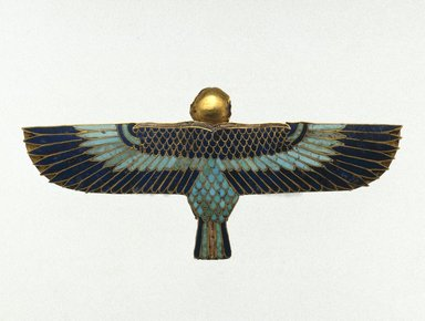 Amulet in the Form of a Ba as Human-Headed Bird, 664 B.C.E. or later. Gold, lapis lazuli, turquoise and steatite, 1 1/4 x 2 11/16 x 3/8in. (3.1 x 6.8 x 0.9cm). Brooklyn Museum, Charles Edwin Wilbour Fund, 37.804E. Creative Commons-BY