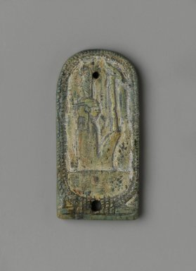Inscribed Plaque with the Cartouche of Amunhotep III, ca. 1390-1352 B.C.E., or later. Steatite, glazed, 1 5/8 x 13/16 x 1/8 in. (4.2 x 2 x 0.3 cm). Brooklyn Museum, Charles Edwin Wilbour Fund, 37.865E. Creative Commons-BY