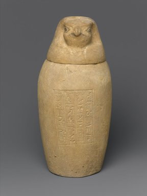 Brooklyn Museum: Canopic Jar and Lid (Depicting a Hawk)